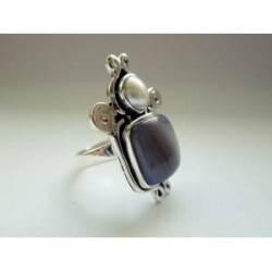 inel din argint cu agat