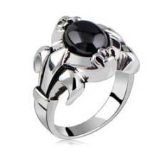 inel cu cristal de obsidian
